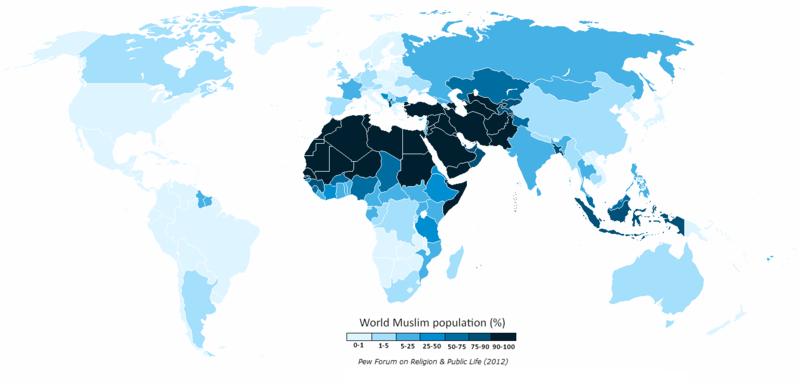 イスラーム教徒の分布図
