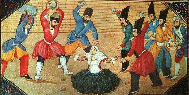 石打ち刑を受ける女性